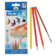 Карандаши цветные акварельные трехгранные с кисточкой,  (12 шт), Milan