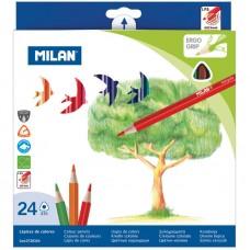 Карандаши цветные трехгранные,  (24 шт), Milan