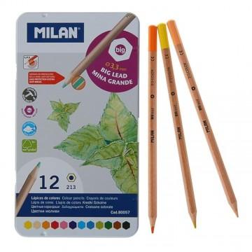 Карандаши цветные с утолщенным грифелем, метал. пенал,  (12 штук), Milan