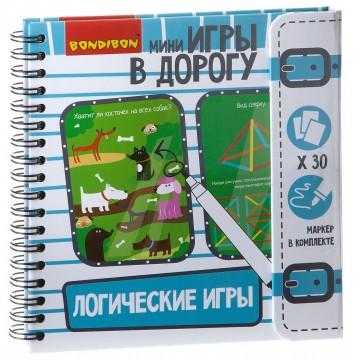 """Компактные развивающие игры в дорогу """"Логические игры"""" (голубая), Bondibon"""