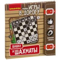 """Компактные развивающие игры в дорогу """"Шашки и шахматы"""", Bondibon"""