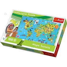 "Развивающий пазл ""Карта мира"" (100 деталей), Trefl"
