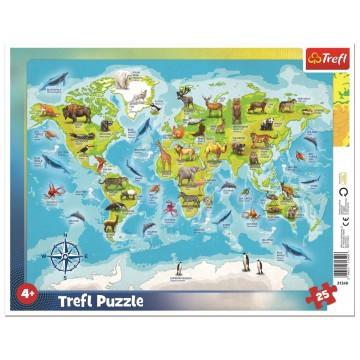 """Пазл в рамке """"Карта мира с животными"""" (25 деталей), Trefl"""