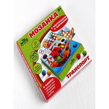 """Мозаика """"Транспорт"""" с карточками, шариками и пинцетом, Лесная мастерская"""
